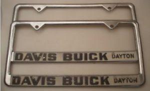 davis buick license plate frame