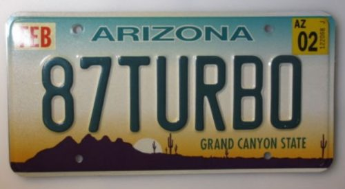 87 turbo license plate