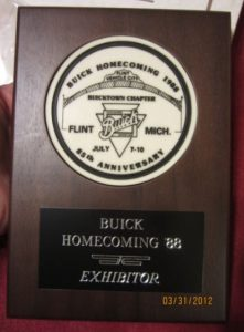 1988 85th Anniversary Buick National Meet Exhibitor Plaque