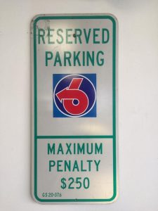turbo 6 reserved parking sign